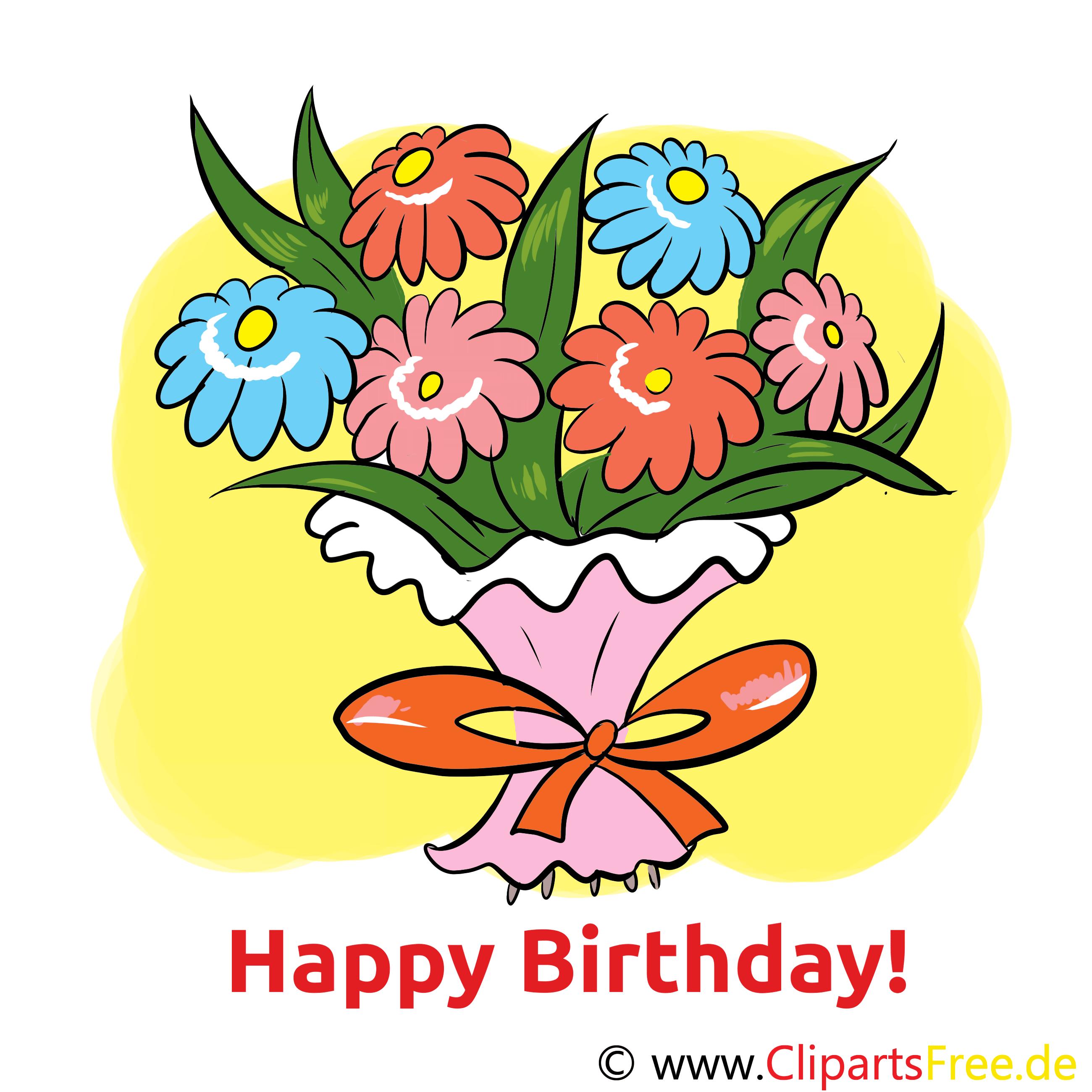 E Karte Zum Geburtstag Mit Blumenstrauss Happy Birthday En