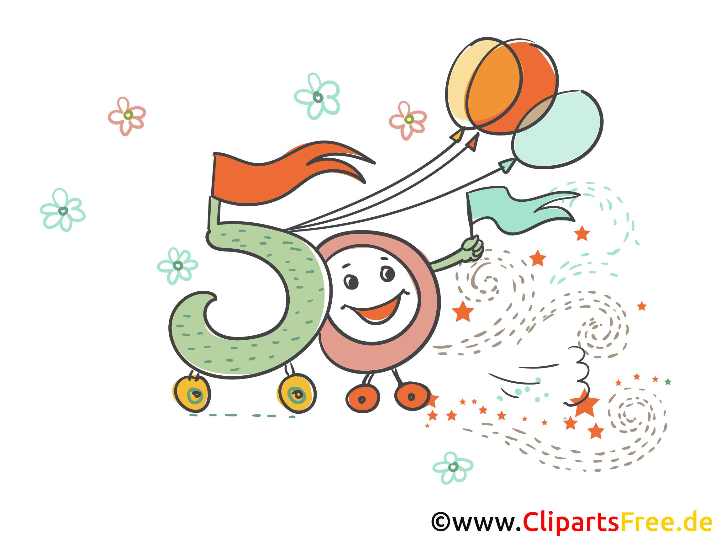Zum 50 Geburtstag Grußkarte Kostenlos Runde Geburtstage